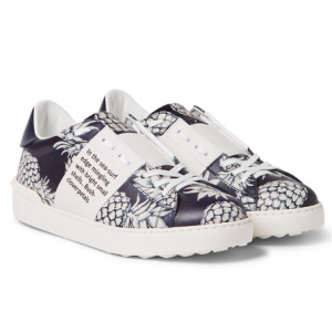 VALENTINO Pineapple-Print Leather Sneakers