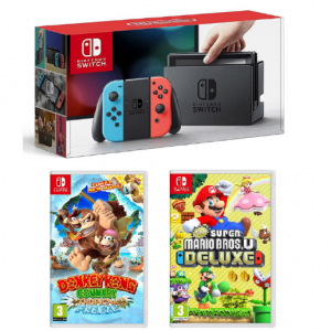 Nintendo Switch (Neon/Gray System)+Donkey Kong Tropical Freeze+Super Mario Bros. U Deluxe @Rakuten