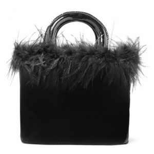 STAUD Nic feather-trimmed patent-leather tote