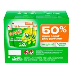 Gain flings! +AromaBoost Laundry Detergent Pacs (Original, 120 Count)