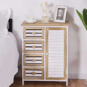 20% OFF 4 Bin-Type Drawers Wooden Free Standing Storage Cabinet @Costway