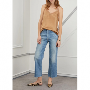 Mother The Rambler high-waisted cropped wide-leg jeans