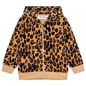 Mini Rodini Beige Leopard Print Velour Zip Hoodie