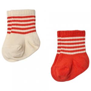 Mini Rodini Pack of 2 Red and Cream Socks