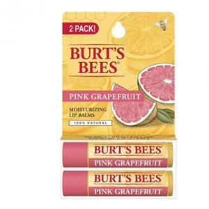 Burt's Bees 100% Natural Moisturizing Lip Balm, Pink Grapefruit, 2 Tubes in Blister Box