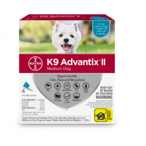 K9 Advantix II Flea and Tick Prevention for Medium Dogs, 4 Monthly Treatments