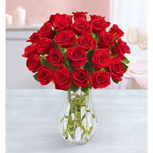 1-800-Flowers: Fresh Flowers - Two Dozen Red Roses with Clear Vase
