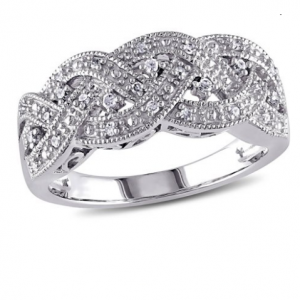 Miabella 1/8 Carat T.W. Diamond Sterling Silver Braid Ring
