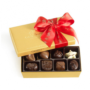 Assorted Chocolate Gold Gift Box, Chinese New Year Ribbon, 8 pc.