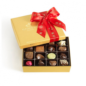 Assorted Chocolate Gold Gift Box, Chinese New Year Ribbon, 19 pc.
