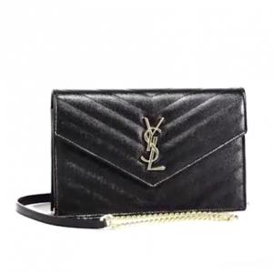 Saint Laurent Small Monogram Mattelasse Leather Chain Wallet