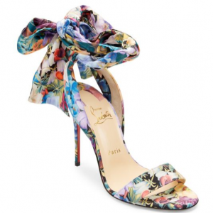 Christian Louboutin Sandale Du Desert 100 Floral Satin Bow Sandals