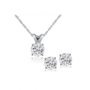 Pompeii3 Diamond Solitaire Necklace & Studs Earrings Set 1/2 Carat (Ctw) 14K White Gold