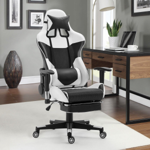 High Back Gaming Chair with Lumbar Support and Footrest