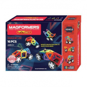 Magformers Vehicle Wow Set (16-pieces) Magnetic Building Blocks, Educational Magnetic Tiles Kit ,