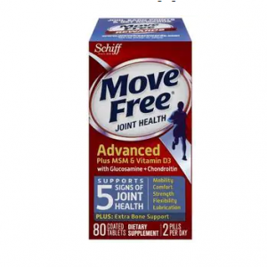 Move Free Glucosamine Chondroitin MSM Vitamin D3 and Hyaluronic Acid Joint Supplement, 80CT
