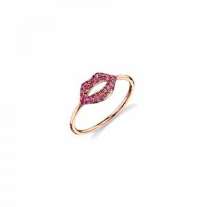 Sydney Evan Pave Ruby Lips Ring - Rose Gold