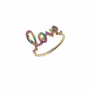 Sydney Evan Large Pavé Rainbow Love Ring