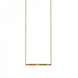 Sydney Evan Long Micropave Bar Necklace