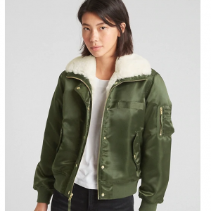 Faux-Fur Lined Bomber Jacket
