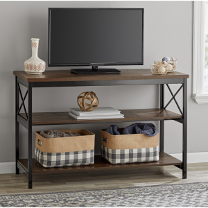 """Mainstays 3-Shelf TV Console Table for Most 42"""" TVs, Sawcut Brown"""