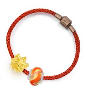 Charme 'Murano Glass Charme Sets' 999 Gold Lion dance Bracelet