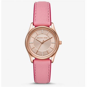 MICHAEL KORS Colette Rose Gold-Tone and Leather Watch