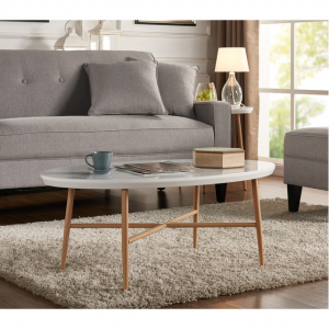 Millie White Oval Cocktail Table With Light Oak Metal Legs