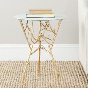 Safavieh Tara Accent Table, Gold, White Glass Top