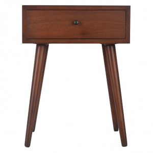 Mid Century One Drawer Wood Side Table