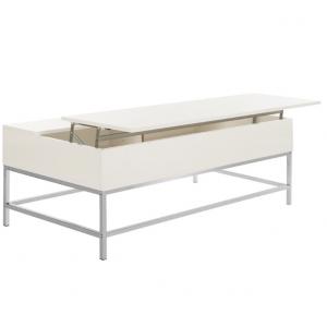 Carolina Lift-Top Coffee Table, White Lacquer, Chrome