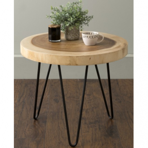 East At Main's Larkin Brown Teakwood Round Accent Table