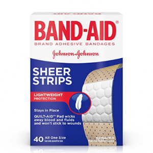 40-Count Band-Aid Brand Sheer Strips Adhesive Bandages @Amazon