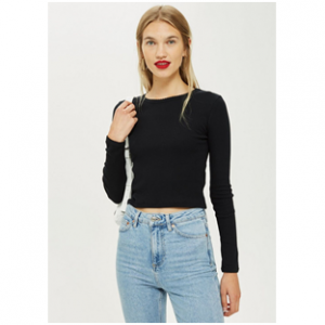 PETITE Long Sleeve Scallop Top