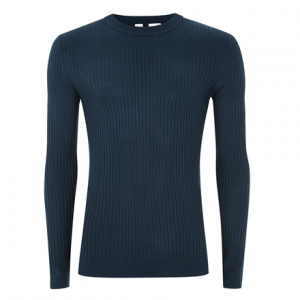 Royal Blue Muscle Ribbed Sweater