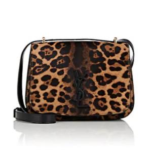 SAINT LAURENT Monogram Spontini Small Calf Hair & Leather Saddle Bag