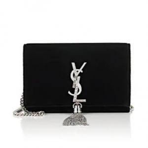 SAINT LAURENT Monogram Kate Velvet Chain Wallet