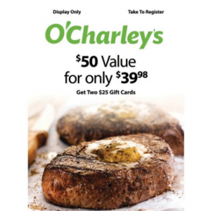 O'Charley's $50 Value Gift Cards, 25% OFF @Sam's Club