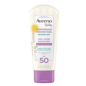 Aveeno Baby Continuous Protection Zinc Oxide Mineral Sunscreen Lotion For Sensitive Skin With Broa