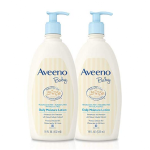 Aveeno Baby Daily Moisture Lotion with Oatmeal & Dimethicone, Fragrance-Free, 18 fl. oz, Twin Pack