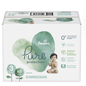 Pampers Pure Disposable Baby Diapers, Hypoallergenic and Fragrance Free Protection, Size 3, 60 Cou