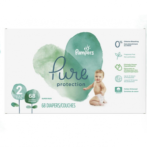 Pampers Pure Disposable Baby Diapers, Hypoallergenic and Fragrance Free Protection, Size 2, 68 Cou