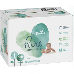 Pampers Pure Disposable Baby Diapers, Hypoallergenic and Fragrance Free Protection, Size 1, 108 Co
