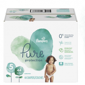 Pampers Pure Disposable Baby Diapers, Hypoallergenic and Fragrance Free Protection, Size 5, 44 Cou