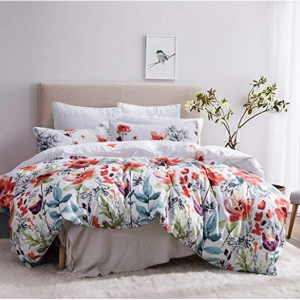 Leadtimes Duvet Cover Set Queen Duvet Cover Floral Boho Hotel Bedding Sets @Amazon