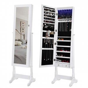 $123.49 SONGMICS 6 LEDs Jewelry Cabinet Lockable Standing Mirrored @ Amazon