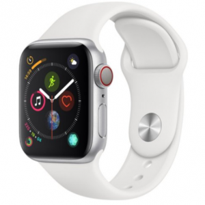Apple Watch Series 4 GPS + Cellular Silver Aluminum Case with White Sport Band