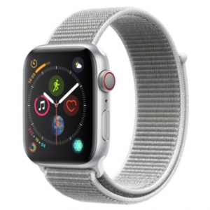 Apple Watch Series 4 GPS + Cellular Silver Aluminum Case with White Sport Loop