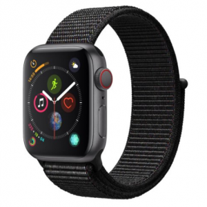Apple Watch Series 4 GPS + Cellular Space Gray Aluminum Case with Black Sport Loop