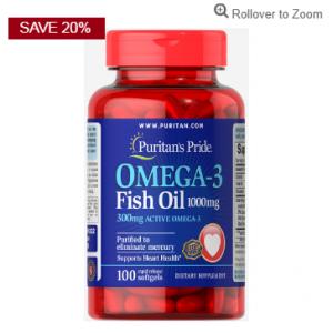 Puritan's Pride Omega-3 Fish Oil 1000 mg (300 mg Active Omega-3)